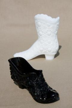 vintage Fenton daisy & button glass lady's slipper shoe & boot, black glass & milk glass