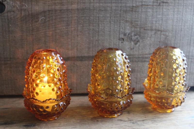 Vintage Fenton Fairy Lights Hobnail Pattern Amber Glass