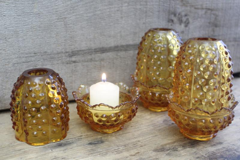 vintage Fenton fairy lights, hobnail pattern amber glass candle holders w/ shades