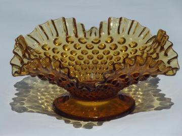 vintage Fenton footed bowl w/ ruffle, hobnail pattern amber glass