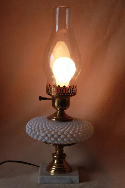 Vintage Fenton French Opalescent Hobnail Moonstone Glass Table Lamp W Chimney Shade