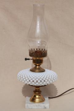 vintage Fenton french opalescent hobnail moonstone glass table lamp w/ chimney shade