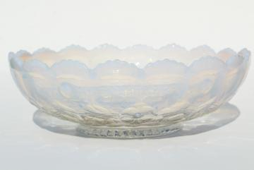 vintage Fenton french white opalescent strawberry berries pattern bowl