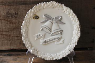 vintage Fenton glass 25th Silver Anniversary frosted white milk glass plate, hand painted