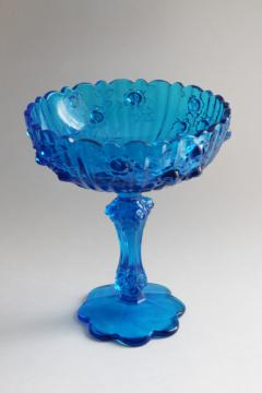 vintage Fenton glass cabbage rose pattern compote bowl, blue glass candy dish