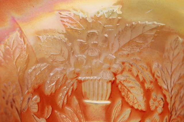 vintage Fenton glass peacock bowl compote candy dish, marigold orange carnival luster