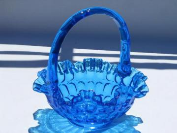 vintage Fenton glass thumbprint pattern brides flower basket, aqua blue color