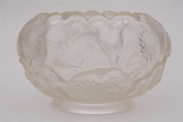 Vintage Fenton Glass Water Lily Rose Bowl Clear Crystal Velvet