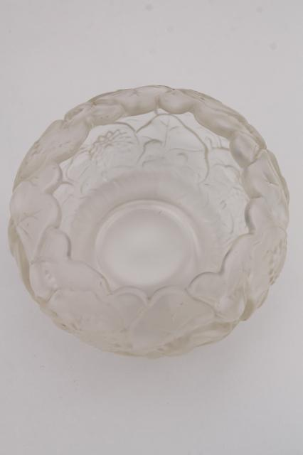 Vintage Fenton Glass Water Lily Rose Bowl Clear Crystal