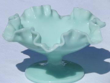 vintage Fenton green pastel milk glass dish, lovely robin's egg blue