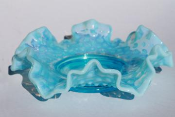 vintage Fenton hobnail blue opalescent glass bonbon, candy dish w/ crimped ruffle edge