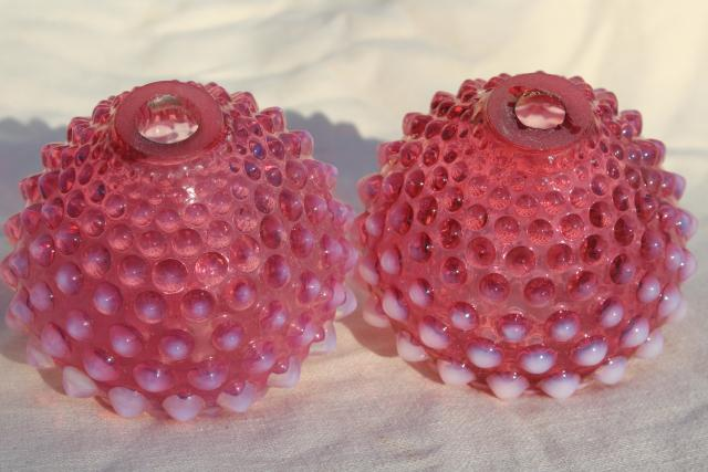 vintage Fenton hobnail cranberry opalescent glass lamps font shape lamp base pair
