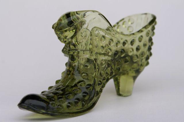 Vintage Fenton Hobnail Gl Shoe 60s