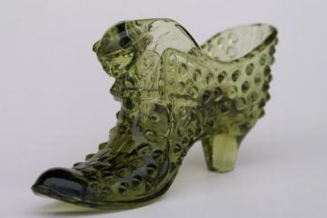 vintage Fenton hobnail glass shoe, 60s cat head glass slipper in avocado green