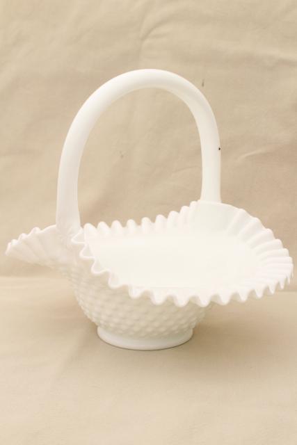 Vintage fenton hobnail milk glass basket brides