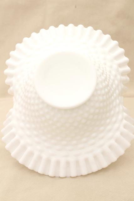 vintage Fenton hobnail milk glass basket, brides basket for flowers, centerpiece