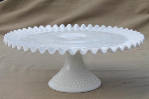 Vintage Fenton Hobnail Milk Glass Cake Stand Pedestal
