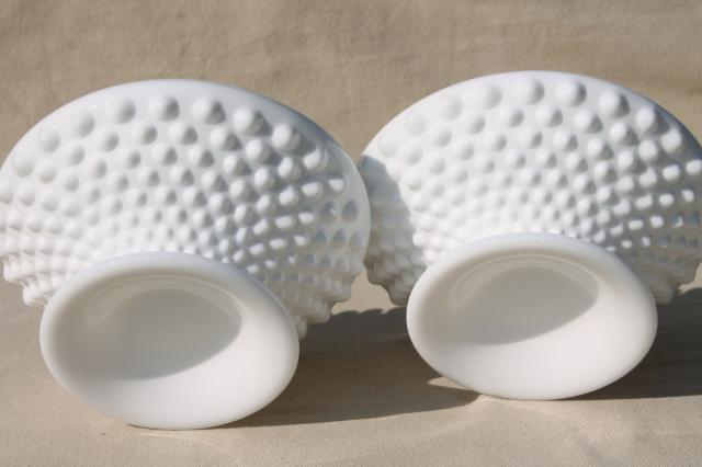 vintage Fenton hobnail milk glass candle holders, ivy bowl candlesticks to hold flowers