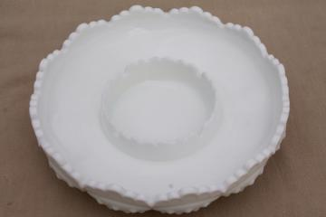 vintage Fenton hobnail milk glass centerpiece candle bowl / ashtray, chip & dip?