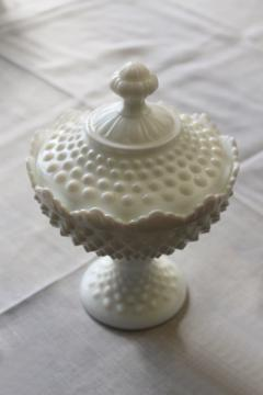 vintage Fenton hobnail milk glass compote or covered candy dish, original label