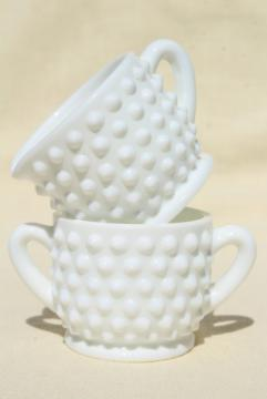 vintage Fenton hobnail milk glass, individual size mini creamer & sugar set