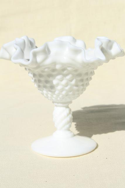 vintage Fenton hobnail milk glass, instant collection grouping of small vases