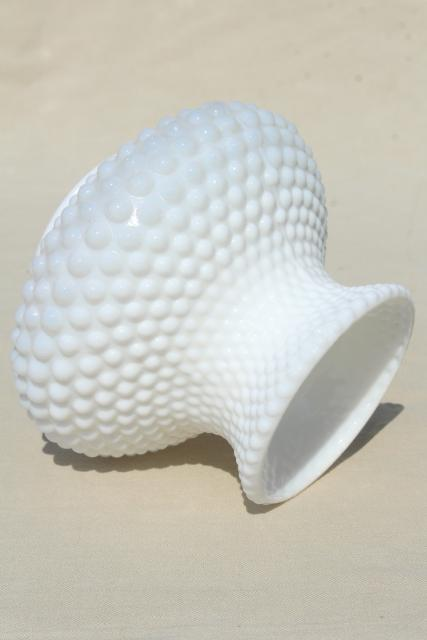 vintage Fenton hobnail milk glass lampshade, small replacement shade for mini lamp