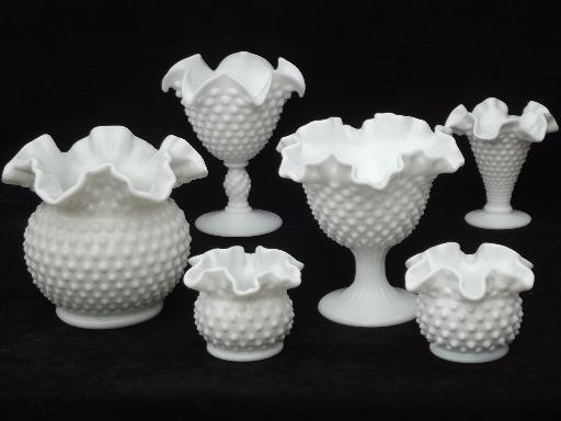 Vintage Fenton Hobnail Milk Glass Lot Flower Vases Planters Rose Bowls