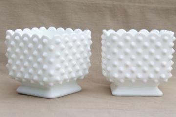 vintage Fenton hobnail milk glass planters, square cube shaped flower pots