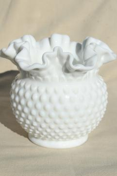 vintage Fenton hobnail milk glass rose bowl flower vase w/ crimped ruffle edge