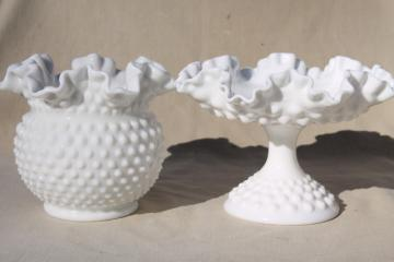 vintage Fenton hobnail milk glass rose vase or ivy bowl & ruffled compote candy dish