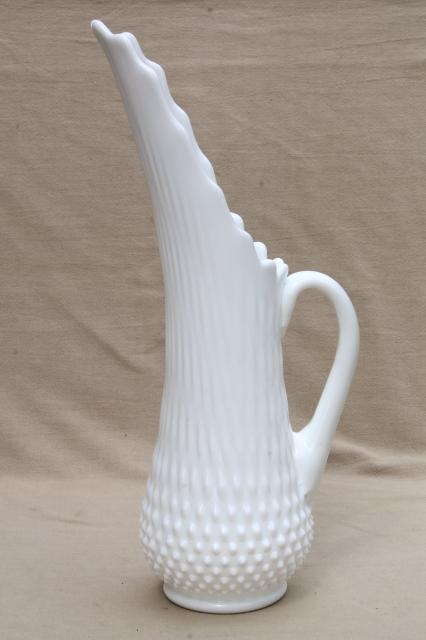 Vintage Fenton Hobnail Milk Glass Tall Swung Shape Pitcher Vase For