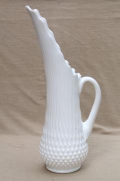 vintage Fenton hobnail milk glass, tall swung shape pitcher vase for long stemmed flowers