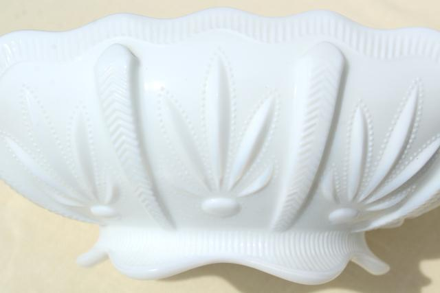 vintage Fenton milk glass, Cactus pattern banana bowl or fruit centerpiece
