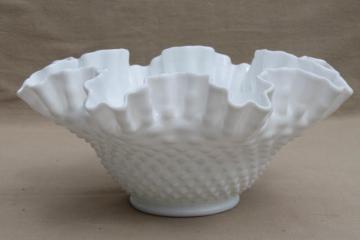 vintage Fenton milk glass crimped hobnail pattern bowl, large flower vase centerpiece