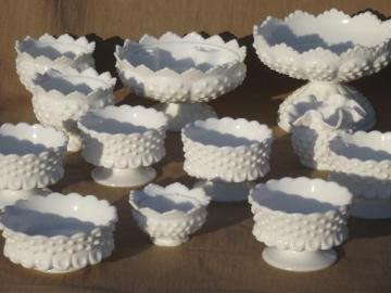 vintage Fenton milk glass hobnail candle holders, flower bowls & compotes