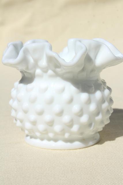 Vintage Fenton Milk Glass Hobnail Pattern Glass Violet Vase Set