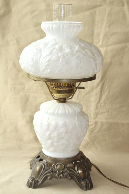 Vintage Fenton Milk Glass Lamp Poppy Floral Student Lamp