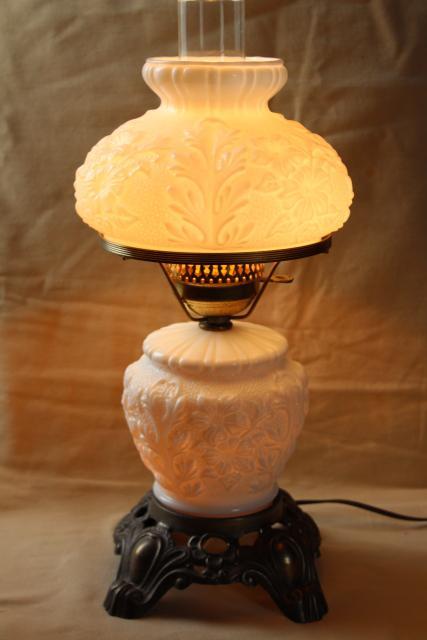Vintage Fenton Milk Glass Lamp, Poppy Floral Student Lamp GWTW Chimney Shade