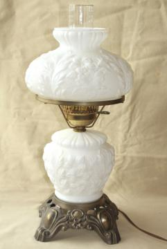 vintage Fenton milk glass lamp, poppy floral student lamp GWTW chimney shade