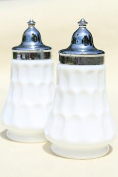 vintage Fenton milk glass salt and pepper shakers, thumbprint pattern glass
