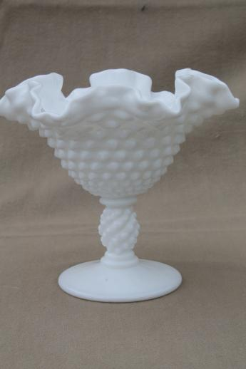 Vintage Fenton Milk Glass Vases Hobnail Pattern Glass W