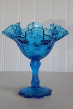 vintage Fenton rose molded roses compote w/ crimped edge, colonial blue colored glass