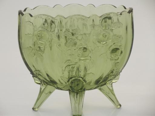 Vintage Fenton Rose Pattern Vase Colonial Green Glass Footed Vase