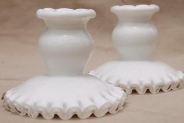 vintage Fenton silver crest milk glass candlesticks, pair low candle holders