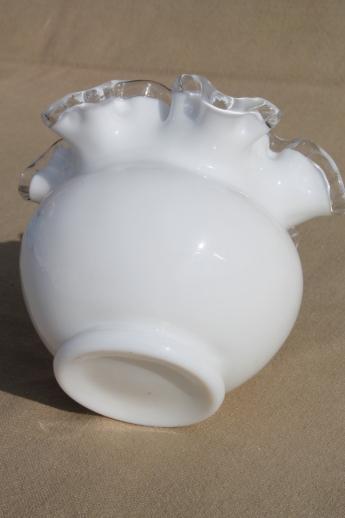 Vintage Fenton Silver Crest Milk Glass Rose Bowl Double Crimped Ruffle Edge Vase