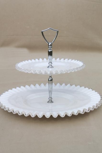 vintage Fenton silver crest milk glass two tier cake stand tiered plate serving tray & vintage Fenton silver crest milk glass two tier cake stand tiered ...