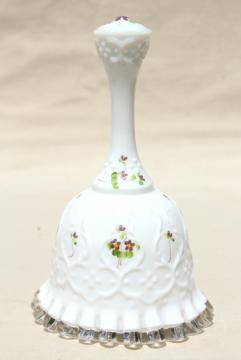 vintage Fenton silvercrest milk glass bell, hand painted violets in the snow