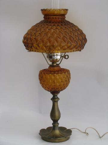 Vintage Fenton Student Lamp For Desk Or Table Amber Glass