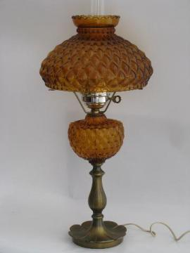 vintage Fenton student lamp for desk or table, amber glass quilted diamond shade